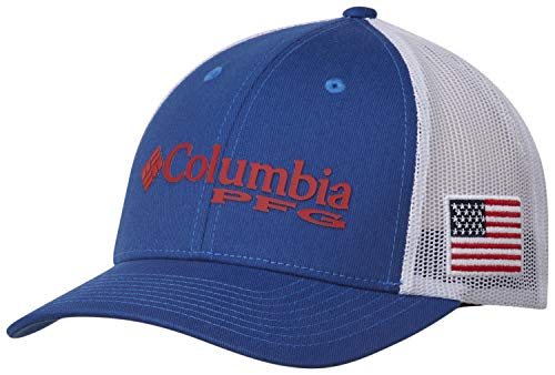 Columbia PFG Logo Snap Back Ball Cap, Breathable, Adjustable, Mountain Blue, USA Flag, One Size from Columbia