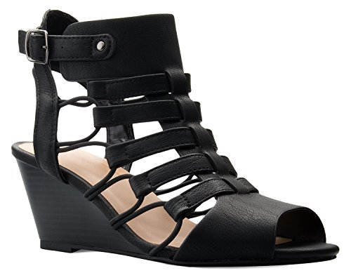 OLIVIA K Women's Strappy Cord Wedge Sandals - Sexy Open Toe Heel - Comfort, Fasionable, Casual Style,8.5 B(M) US,Black Leather Strappy Heel Wedge Sandal