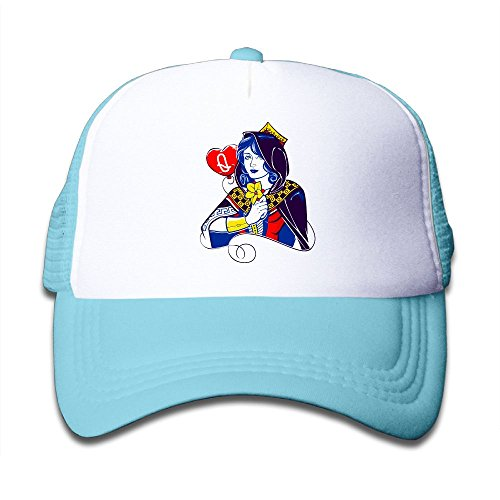 Queen Of Hearts Mesh Hat Trucker Style Outdoor Sports Baseball Cap With Adjustable Snapback Strap For Kid's SkyBlue One (Travel Bug Halloween Costume)