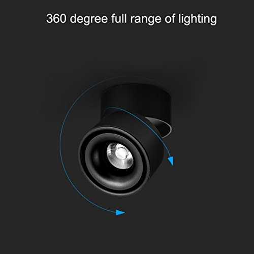 CHMPH Indoor 10W LED Spotlight wall light 360°Adjustable Ceiling Downlight /Surface Mounted COB Lighting LED/Cool White 6000K/ 10X10CM/Aluminum Wall Lamp or Spot Light(Black-6000K) by CHMPH (Image #2)