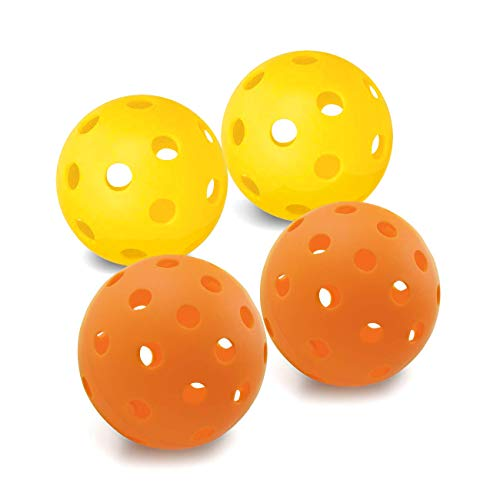 EasyTime Pickleball Balls Outdoors Balls with 40 Small Precisely Drilled Holes & Indoor Balls with 26 Drilled Holes USAPA Approved(Both-4 Pack)
