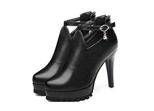 LBDX printemps slim talon haut Nightclub Chaussures à talons hauts en cuir Chaussures simples Chaussures femme (Couleur : Vin rouge, taille : 34) Noir