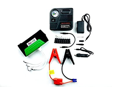 Nucharger PJ16 16800mAh 19/16/12V Jump Starter with Portable Air Compressor w/ inflation needle. HP, Dell, Magsafe. USB adapter to iPhone 5/5S/SC/4/4S - iPad Mini/4/5/Air/1/2/3 - MicroUSB and MiniB
