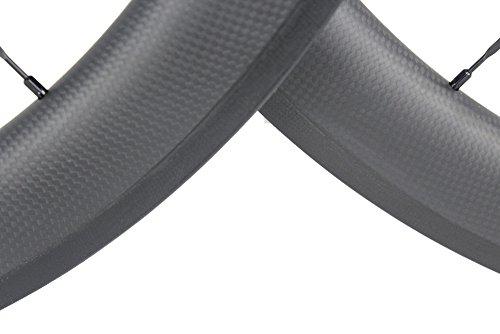 Road Bike Wheel set 50mm Clincher Carbon Fiber Matte 25mm Width For Shimano or Sram 10/11 Speed 700C Wheels by WOKECYC (Image #2)