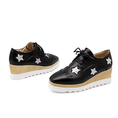 AgooLar Damen Mittler Absatz Rein Schnüren Weiches Material Quadratisch Zehe Pumps Schuhe Schwarz