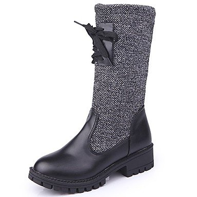 Boots Black Heel Shoes RTRY Pu Round UK6 Women'S Fall US8 Casual Toe Chunky Boots Bowknot CN39 Fashion EU39 For BqxSwq