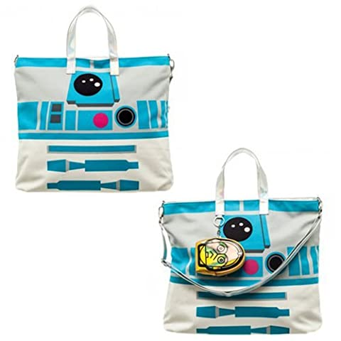 Star Wars R2D2 Tote with C3PO Pouch Accessory, -Multi, One size fits most (Star Wars Rebel Bag)