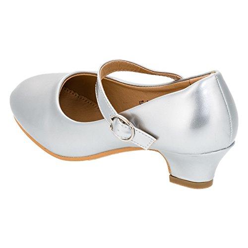 Max Shoes Festliche Mädchen Pumps Ballerina Schuhe Absatz Lackoptik in Vielen Farben M322si Silber