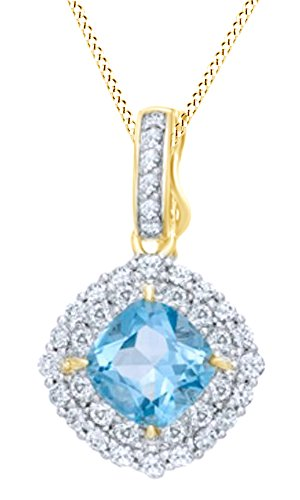 Jewel Zone US Cushion-Cut Simulated Swiss Blue Topaz & White Sapphire Frame Pendant in 14K Gold Over Sterling Silver -