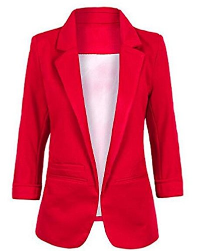- Faddish Women's Cotton Basic Boyfriend Ponte Rolled Blazer Jacket Suits Wine Red XL