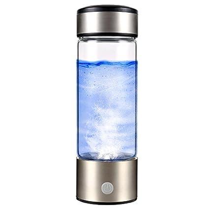 SUNA Ionizador De Agua Rico En Hidrógeno Portátil Vidrio De Agua Transparente, con Tapa Botella