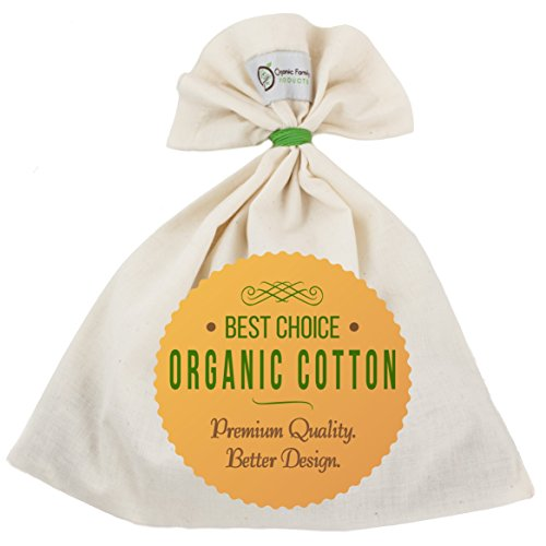 Organic Cotton Nut Milk Bag - Super Smooth Almond Milk Maker - No Seam Bottom, Drawstring Free - Reusable Food Strainer for Yogurt, Cheese Cloth, Juice, Tea, Coffee & More - Natural and Eco-Friendly