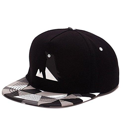 - King Star Men Solid Flat Bill Hip Hop Snapback Baseball Cap Penguin-Black
