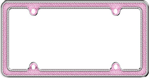 Cruiser Accessories 17536 Chrome/Pink Glitz License Plate Frame
