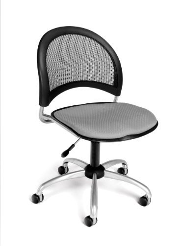 OFM Moon Series Armless Fabric Swivel Chair, Putty