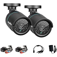 Sannce 2 pack 1.0MP 1/4 color CMOS sensor 720P AHD / 1280TVL Security Camera, IP66 Weatherproof In/Outdoor Fixed CCTV Camera