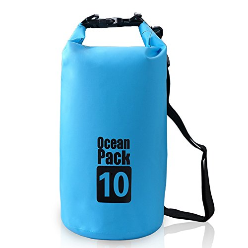 Bear Outdoor Dry Sack/ Waterproof Bag for Boating, Kayaking, Hiking, Snowboarding, Camping, Rafting, Fishing and Backpacking 10L Blue