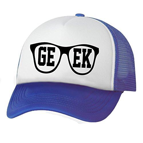 GEEK in Glasses Truckers Mesh snapback hat in White/Royal - One - In Glasses Geek