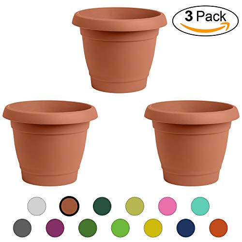 ALMI Carmel Round Planter 9 Inch [3-Pack] Plastic Rounded Pot for Garden, Elegant Shaped Flower Tree, Tapered Planters for Plants, Small Trees, UV Resistant Paint, Indoor & Outdoor - Terracotta