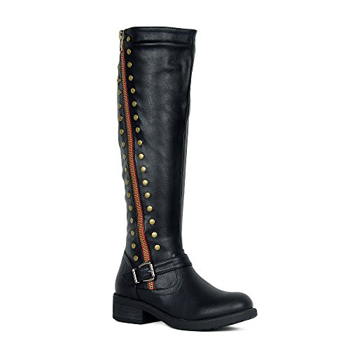 Low Heel Riding Boot (WestCoast Women's Knee High Riding Boot Faux Leather Side Zipper Low Heel Boots Black 10)