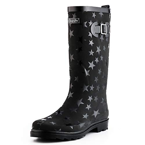 KomForme Women Fashion Rain Boots (Size 8, Star)