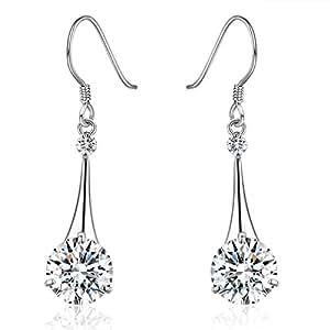 SBLING Platinum-Plated Silver Cubic Zirconia Tear Drop Earrings ( 6.5 cttw )