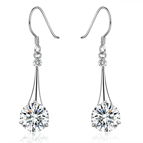 SBLING Platinum-Plated Silver Cubic Zirconia Tear Drop Earrings ( 6.5 cttw ) Cubic Zirconia Platinum Earrings
