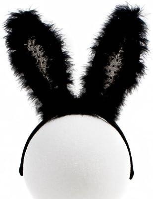 Flashing Panda Furry Flashing Feather LED Bunny Ears, Black