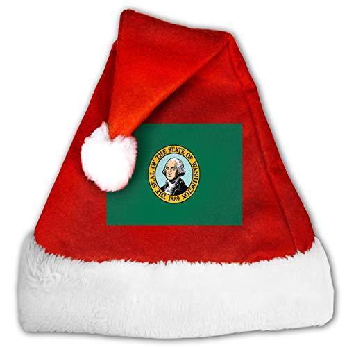 Unisex Washington State Flag Christmas Hat Traditional Santa Xmas Cap