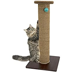 Kitty City Premium Woven Sisal Carpet Scratching Post Fleece Bed Furniture, Total Height 32 Inches