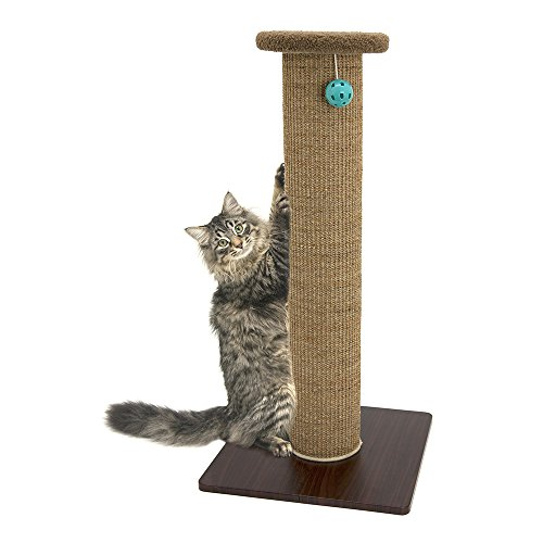 41LiEvl%2BvML - Kitty City Premium Woven Sisal Carpet Scratching Post Fleece Bed Furniture, Total Height 32 Inches