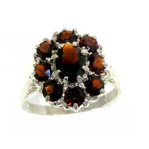 925 Sterling Silver Real Genuine Garnet Womens Cluster Ring - Size 11