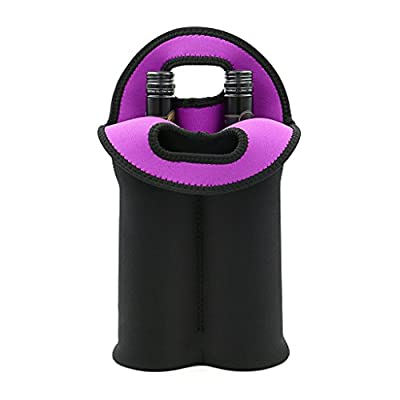 Hipiwe Wine Carrier Tote Bag Two Bottle Insulated Neoprene Wine/Water Bottle Holder for Travel with Secure Carry Handle