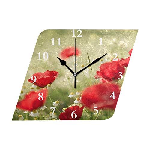 Diamond Outdoor Clock - HangWang Wall Clock Poppy Flowers Designer Silent Non Ticking Decorative Diamond Digital Clocks Indoor Outdoor Kitchen Bedroom Living Room