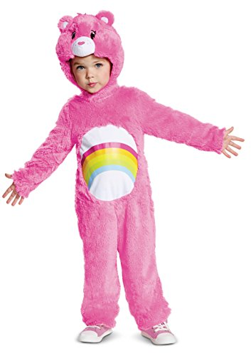 Disguise Cheer Bear Deluxe Plush Child Costume, Pink, Medium/(3T-4T)