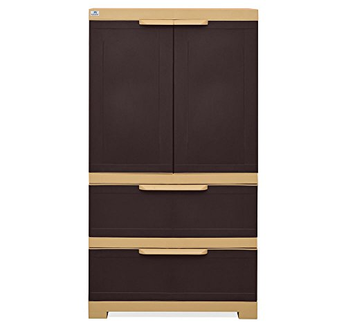 @home by Nilkamal Freedom Cabinet with 2 Drawers (Weather Brown and Biscuit)