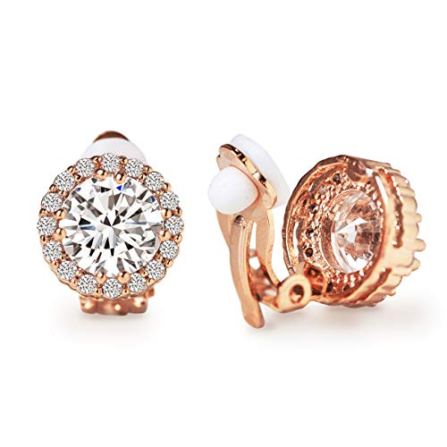 , Round Crystal Stud Clip Earrings in Rose-Gold - 1/2 in ()