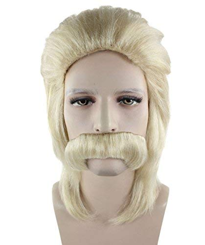Halloween Party Online Men 70s Wig with Mustache, Blonde Adult HM-366A -