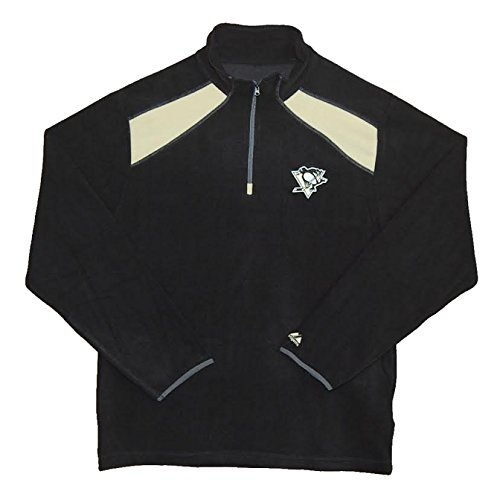 Majestic Pittsburgh Penguins Black Carom 1/4 Zip Micro Chiller Fleece Jacket (L)