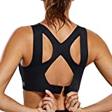 SYROKAN Women's High Impact Seamless Racerback Wirefree Sports Running Bra with Built-in Cups Black 36D