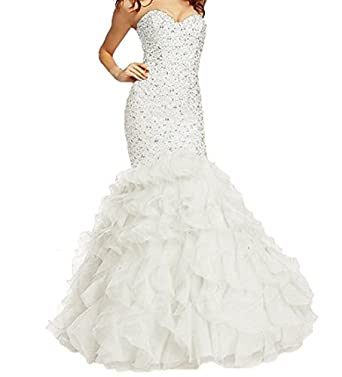 Jazylynbride Womens Mermaid Beaded Sweetheart Lace Up Prom Dresses with Organza Ruffles
