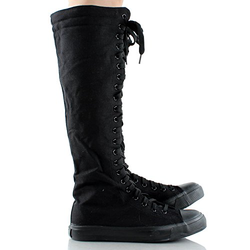 New Fasion Women Canvas Sneakers Punk flat Skatter Knee High Lace up Shoes Black itjxH6G