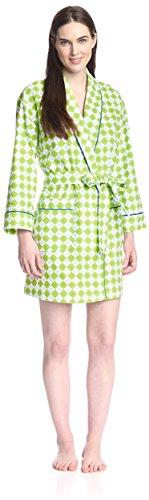 BedHead Pajamas Women's Short Robe, Kiwi Remix Flannel, M