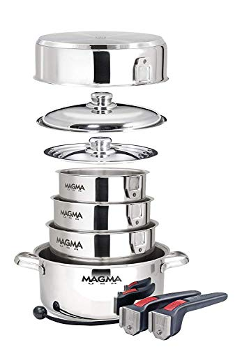 - Magma Products, A10-360L-IND, 10 Piece Gourmet Nesting Stainless Steel Cookware Set, Induction Cooktops