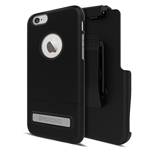 Seidio Phone Cases (Seidio SURFACE with Metal Kickstand Case & Belt-Clip Holster for iPhone 6/6S - Non-Retail Packaging - Black/Gray)