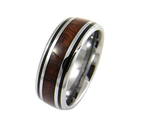 Genuine inlay Hawaiian koa wood band ring tungsten comfort fit enamel black border 8mm size 14 by Arthur's Jewelry