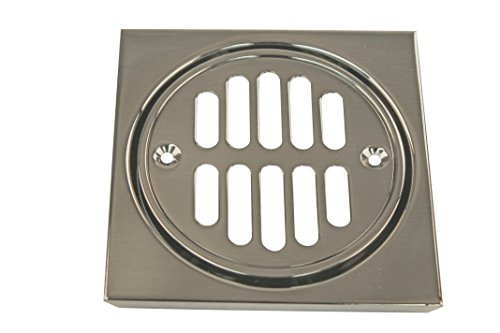 Westbrass Shower Strainer Set Square with Crown, Satin Nickel, D313-07 (Nickel Shower Strainer)