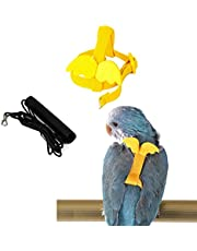 YiYLunneo Bird Harness and Leash Kit,Adjustable Parrot Harness Leash Kit Outdoor Flying Anti-bite and Anti-Lost Pets Birds Traction Strap Out Rope(Yellow)