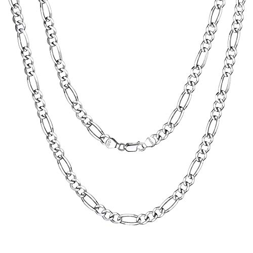Italy Made Figaro Chain Solid 925 Sterling Silver Polished Necklace for Men and Women, 18 Inch