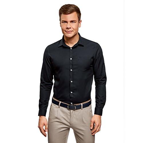 oodji Ultra Hombre Camisa Entallada de Algodón 66n1F5PB